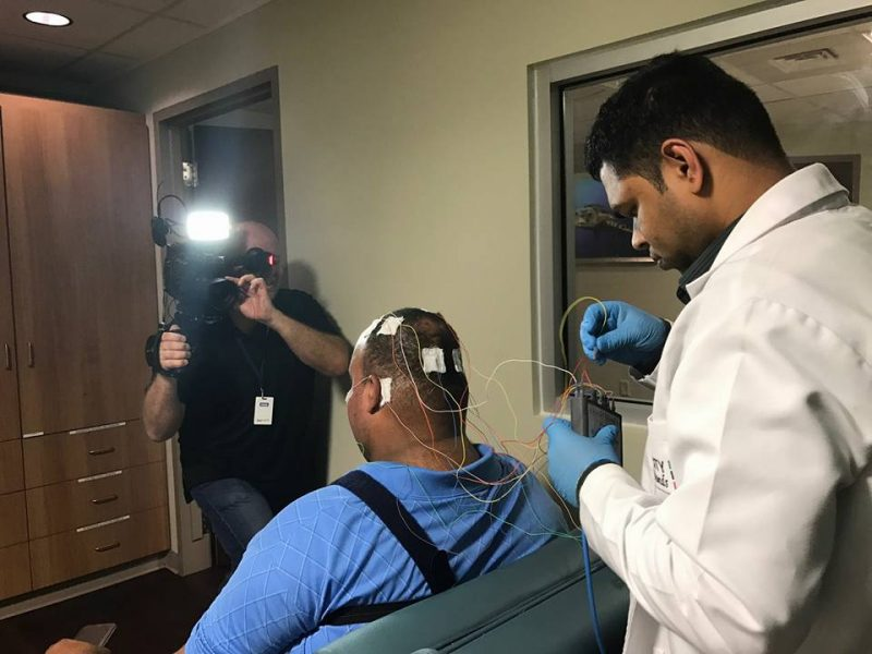 HCCI patient Matthew Leslie recently completed a sleep study to determine if he is experiencing sleep apnea. Mr. Leslie is scheduled for bariatric surgery with Health City Cayman Islands and is being filmed for a documentary on his experience.