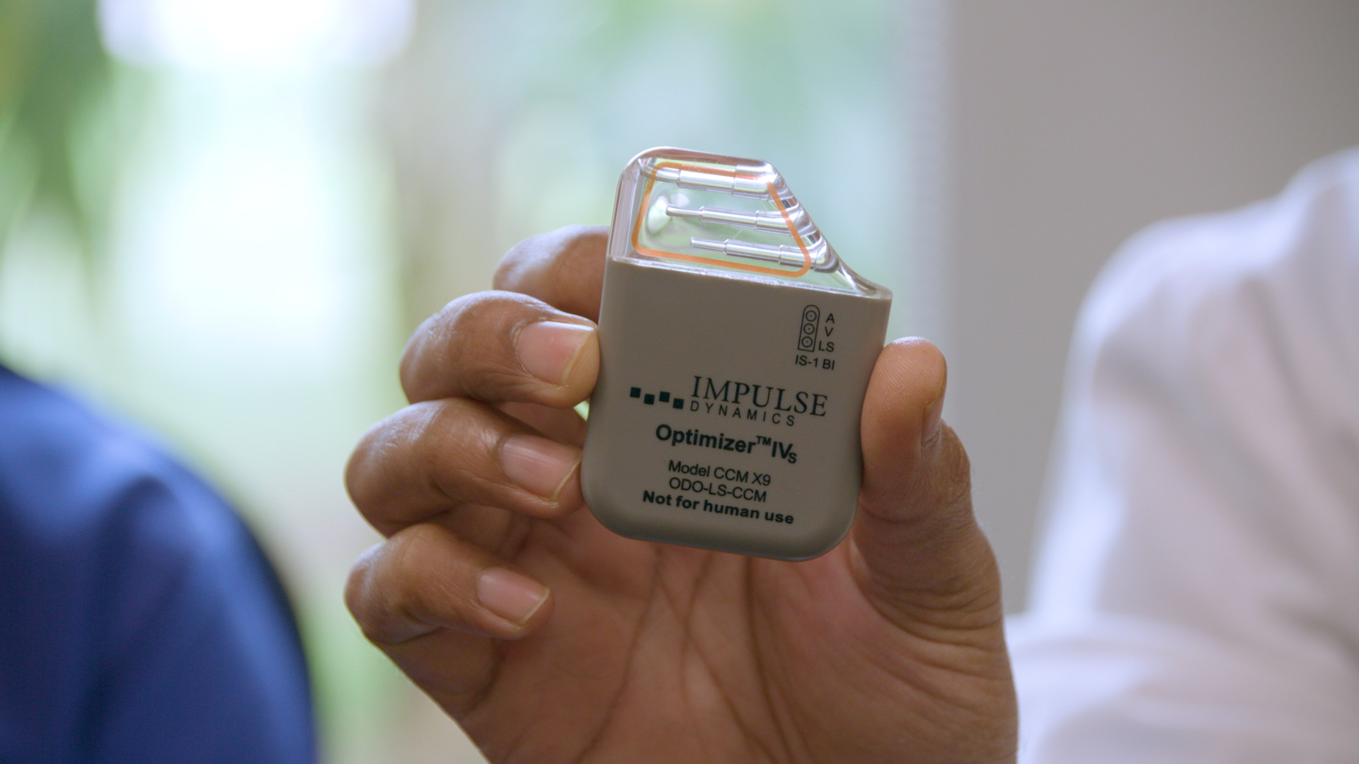 The Optimizer IVs Active Implantable Pulse Generator (IPG) by Impulse Dynamics.