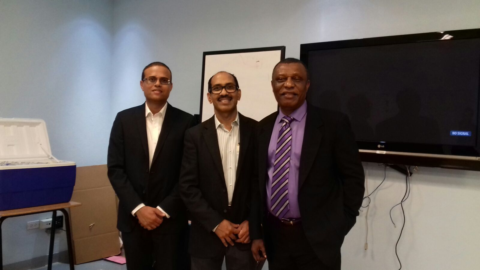 From left to right: Dr. Dhruva Kumar Krishnan, Health City Cayman Islands Senior Consultant in Cardiac Anesthesiology and Intensive Care; Dr. Binoy Chattuparambil, Health City Cayman Islands Chief Cardiac Surgeon and Senior Cardiothoracic and Vascular Surgeon; and Dr. Nelson Iheonunekwu, Internal Medicine and Nephrology Specialist at the Cayman Islands Health Services Authority (HSA).