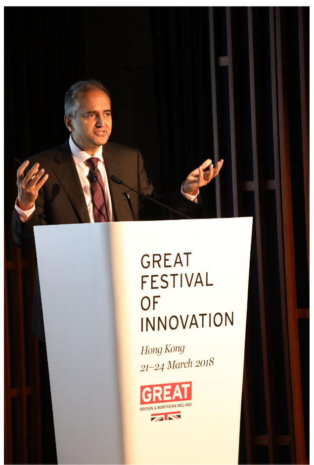 Dr. Devi Shetty speaks on healthcare transformation at the GREAT Festival of Innovation in Hong Kong on March 22.