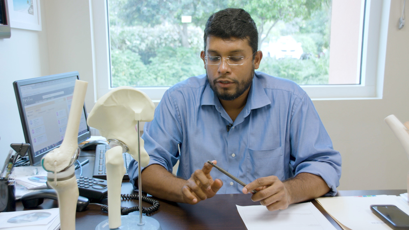 Dr. Alwin Almeida explains how the telescoping magnetic nail works to gradually extend the length of the limb.